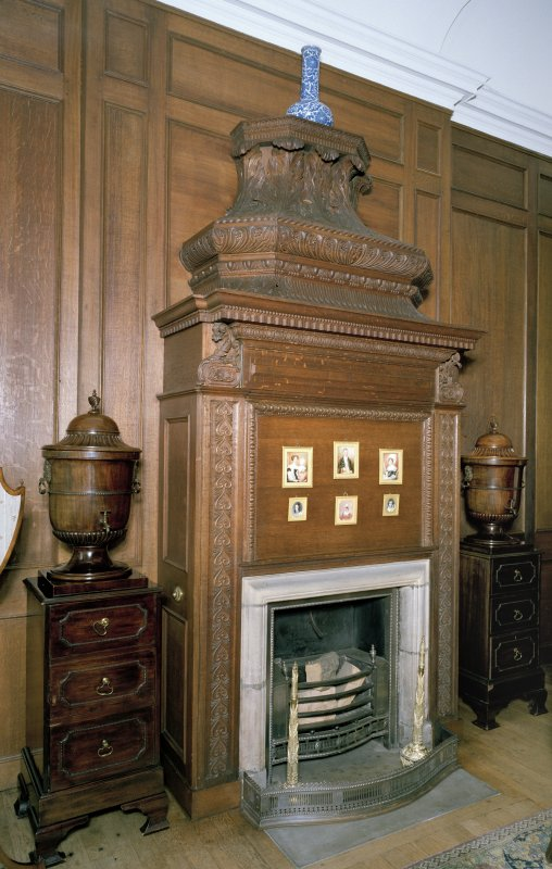 Interior. Detail of Oak Dining Room fireplace