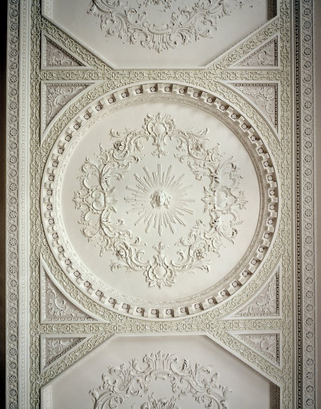 Interior. 2nd floor. Large Drawing Room. Detail of Ceiling