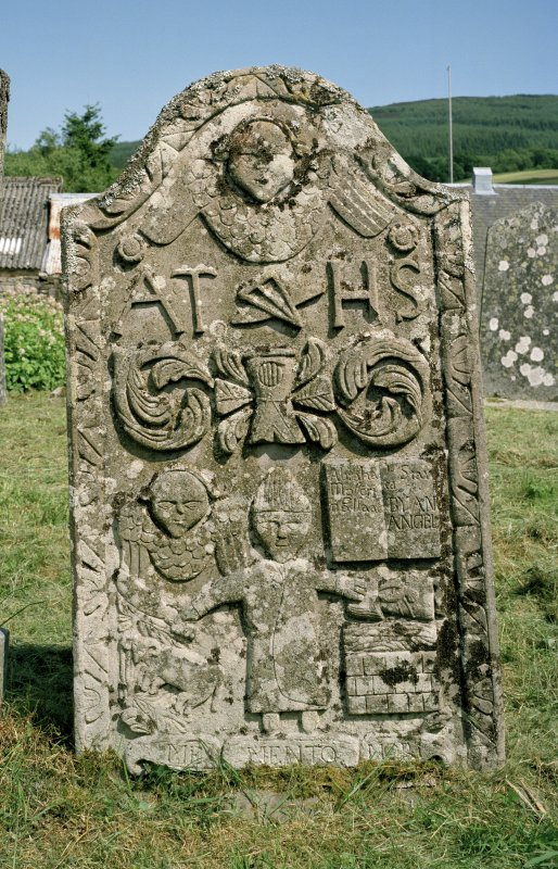 "View of tombstone to James Thomson with ""AT HS"" and ""ME MENTO NORI"", St Mary's Churchyard, Grandtully."