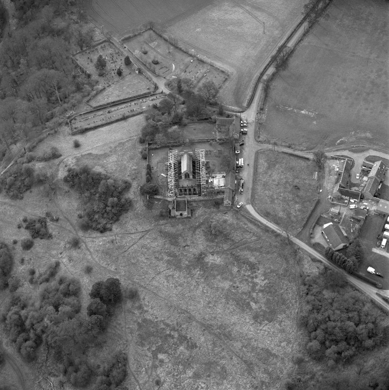 Aerial view of Roslin Chapel under repair, taken from the E.