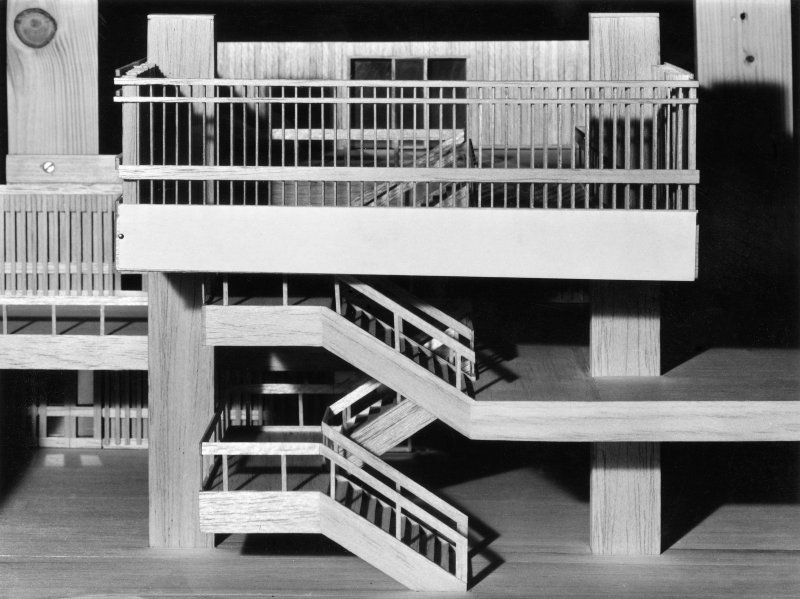 Balsa wood model of main staircase.