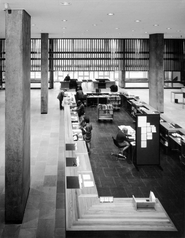 Interior. Elevated view of ground floor service desk.