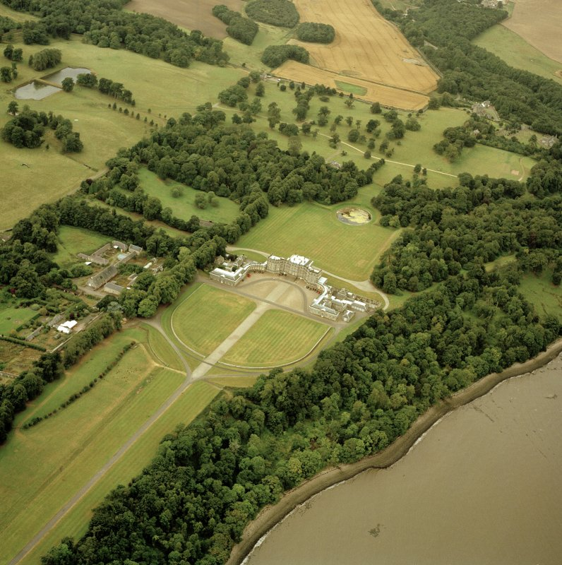 Oblique aerial view centred on Hopetoun House, taken from the ENE.