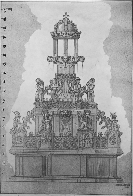Photographic copy of drawing showing form of fountain for its restoration.