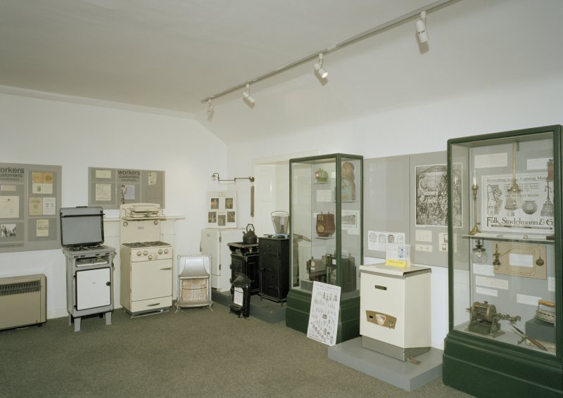 Interior. Retort House: View of former showroom looking NNE. Now used as an exhibition/ educational centre by the Museum.