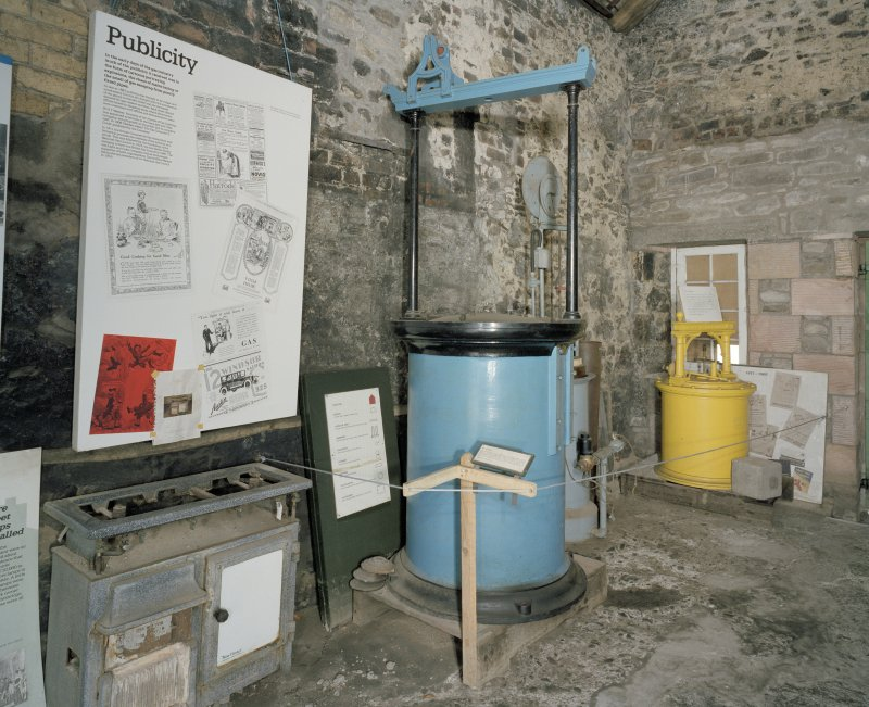 Interior. Coal Store: View of the former retort house and lter coal store from S showing exhibition material and artefacts.