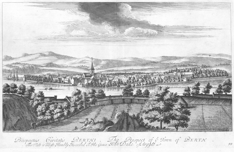 "Engraving showing general view from East. Insc: ""Prospectus Civitalis Perthi. The prospect of ye Town of Perth. This Plate is Most Humbly Inscribed To His Grace John Duke of Argyle &ct"""