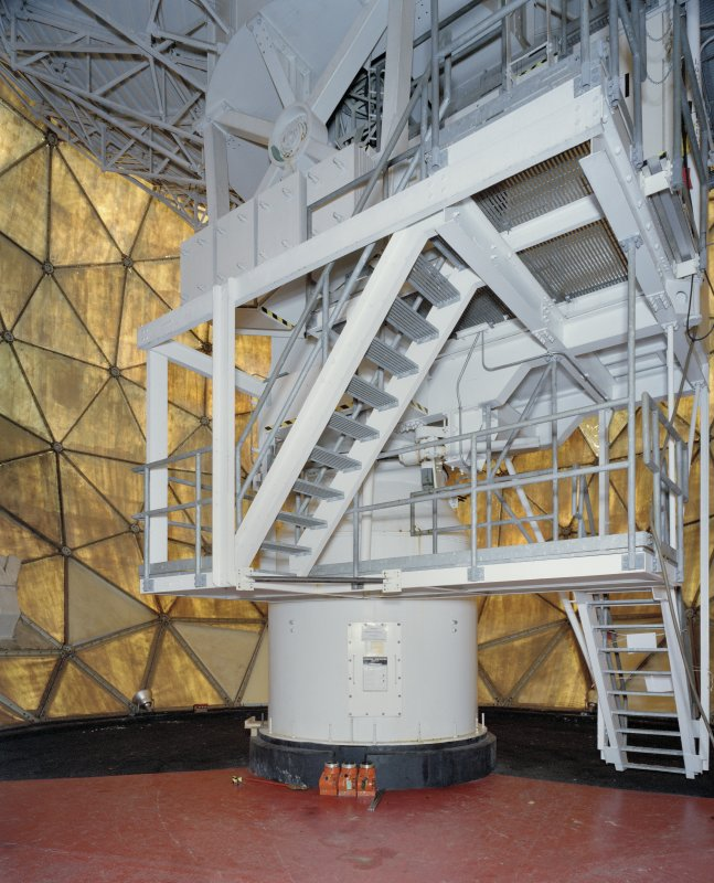Interior. View showing drive for tilt and throw mechanism of antenna dish within the radome.