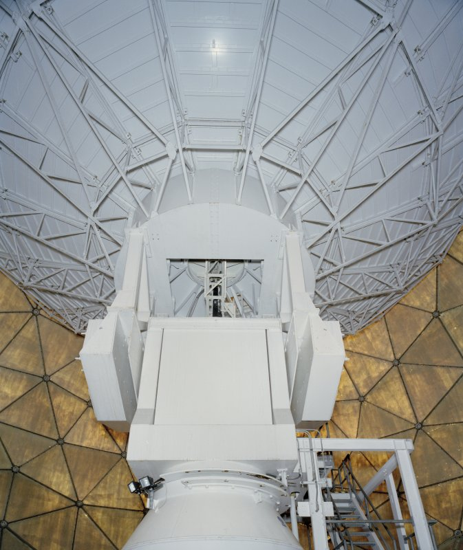 Interior. Showing underside of antenna and upper tier of support within the radome.