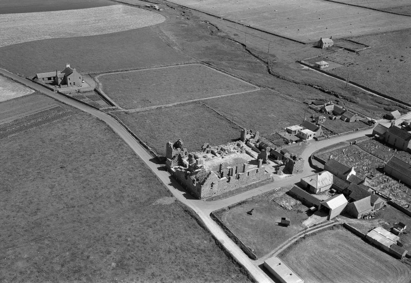 Oblique aerial view of the Earl's Palace, Birsay.