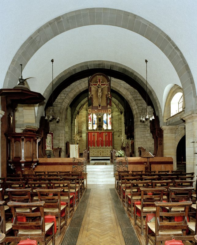 All Saints Episcopal Church, interior.   View of crossing and chancel from West.