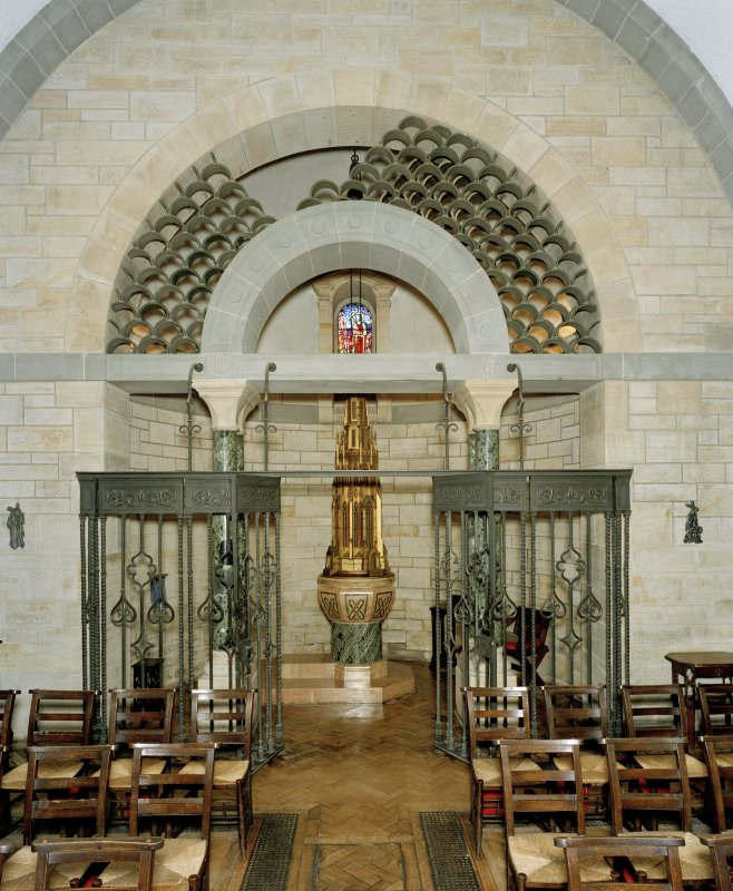 All Saints Episcopal Church, interior.  View of baptistry from East.