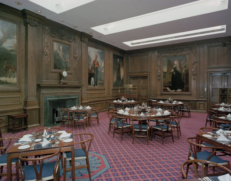 Interior, first floor, main dining-room, view from North West
