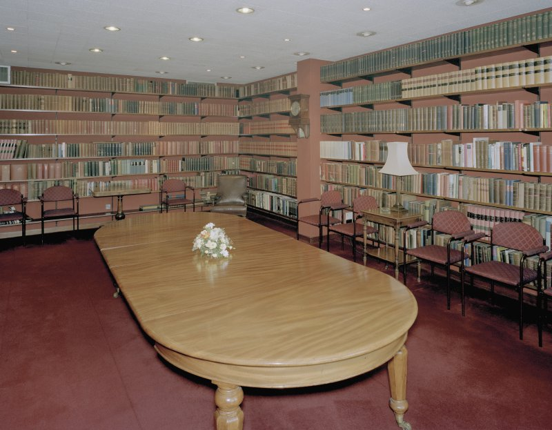 Interior, second floor, library, view from South