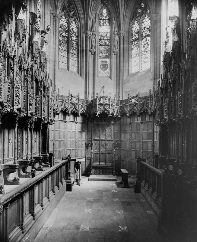 Interior-general view of stalls in Thistle Chapel, St Giles Cathedral, Edinburgh.