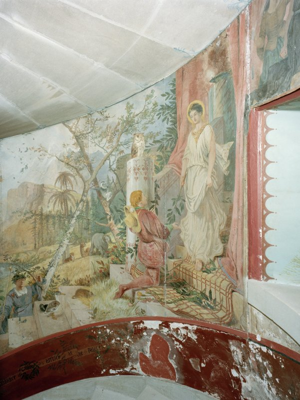 Interior. Detail of mural on spiral stair.
