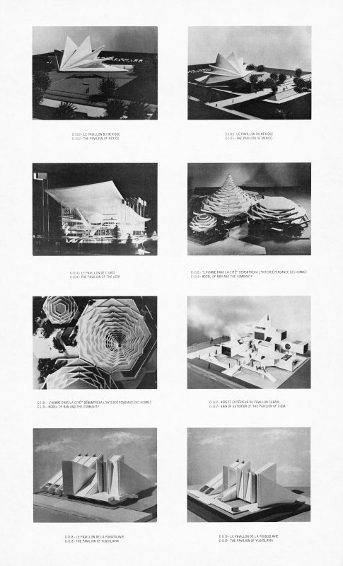 Models of the pavilions of Mexico, USSR, Yugoslavia, and 'Man and the Community'.