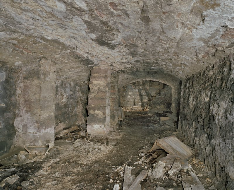 Scanned image of Interior.  Original cellar with stone ceiling from N.