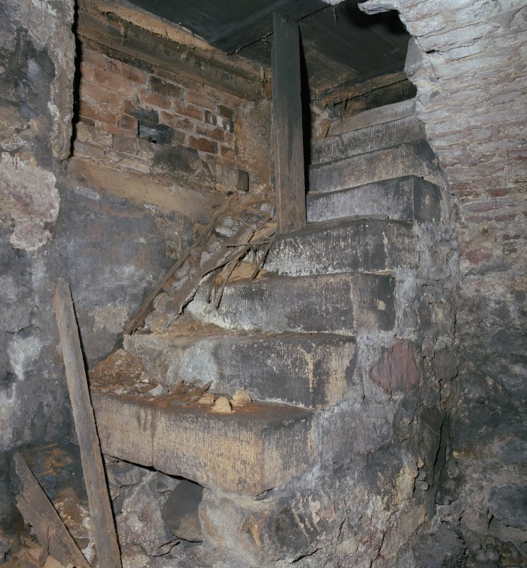 Scanned image of Interior.  Detail of original stone access steps to cellar from ground floor.