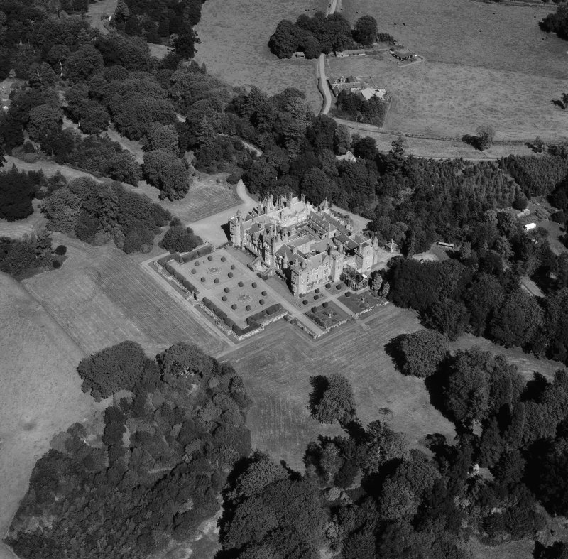 Oblique aerial view of Kinnaird Castle.