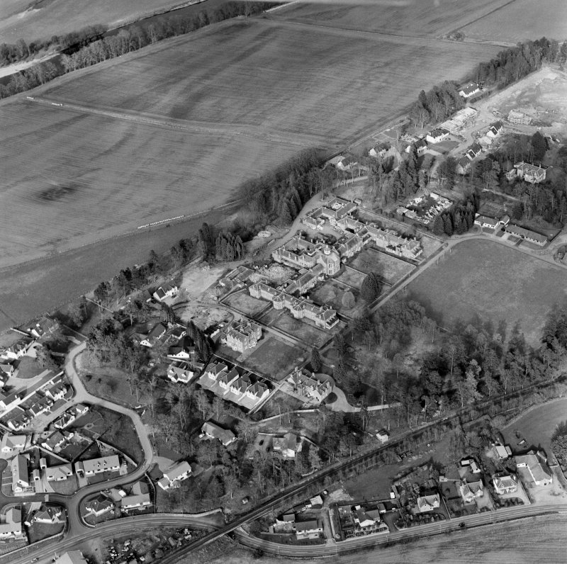 Oblique aerial view of Murthly hospital, taken from the SW.