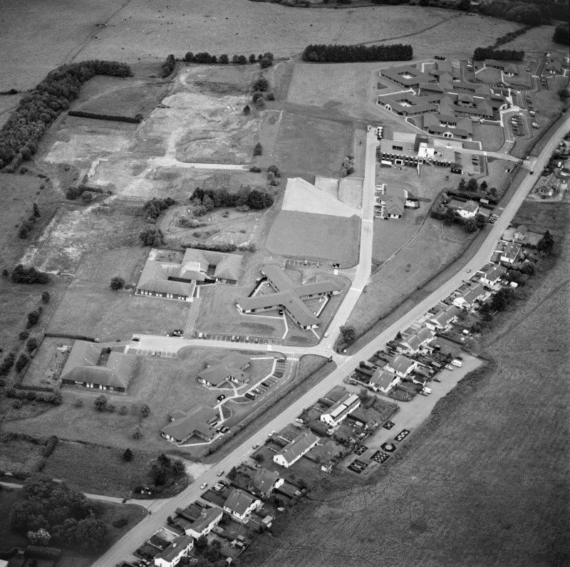 Oblique aerial view centred on Craig Phadrig hospital, Inverness, taken from the N.