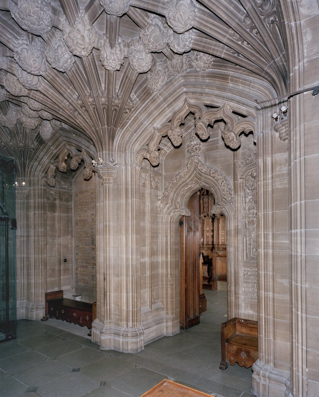 Thistle Chapel, interior, doorway, view from vestibule to north west.