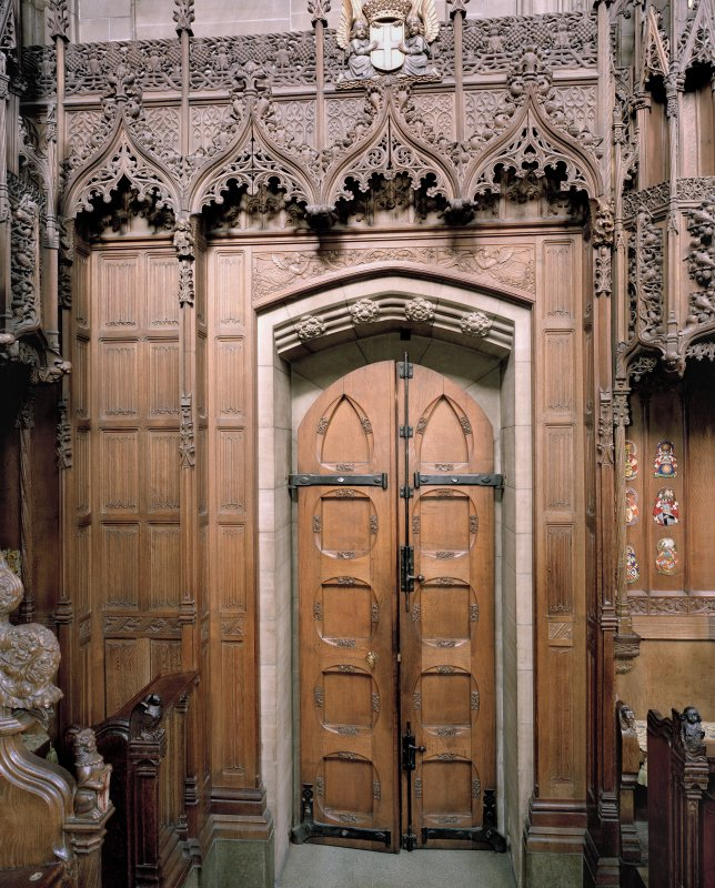 Thistle Chapel, interior, view of doorway and surround.
