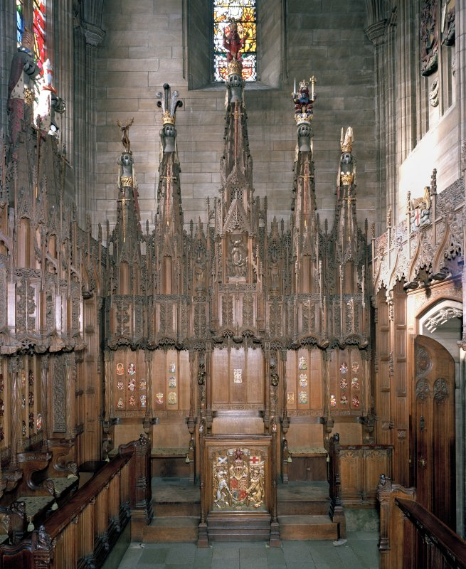 Thistle Chapel, interior, stalls and Queen's seat on west wall, view from east.