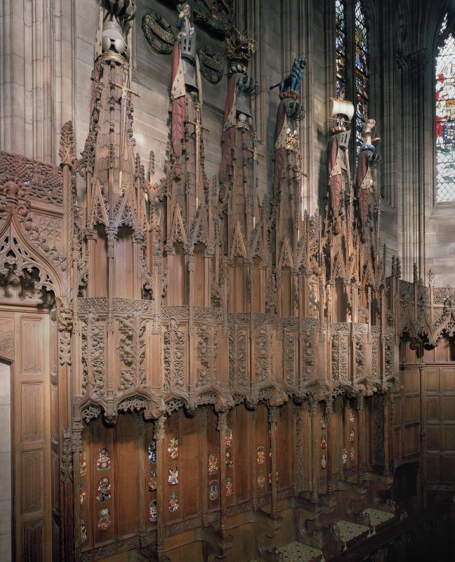 Thistle Chapel, interior, stalls on north wall, view from south west.