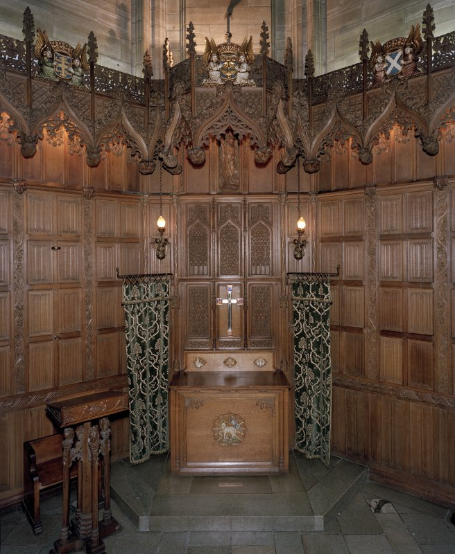 Thistle Chapel, interior, altar table and lectern, view from west.
