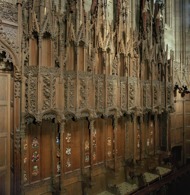 Thistle Chapel, interior, detail of stalls on north wall.