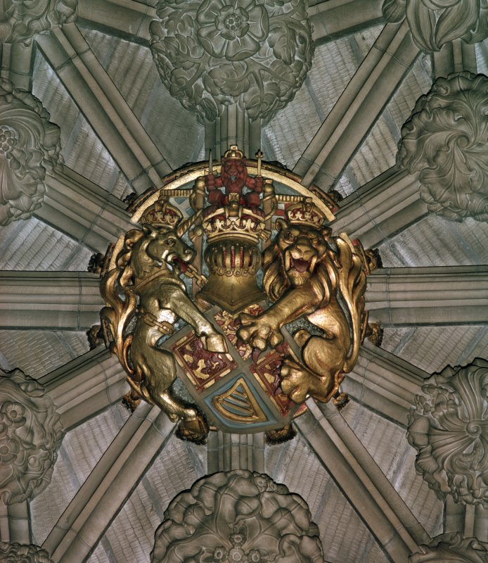 Thistle Chapel, interior, detail of vault boss.