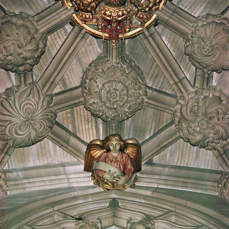 Thistle Chapel, interior, detail of vault boss and angel.