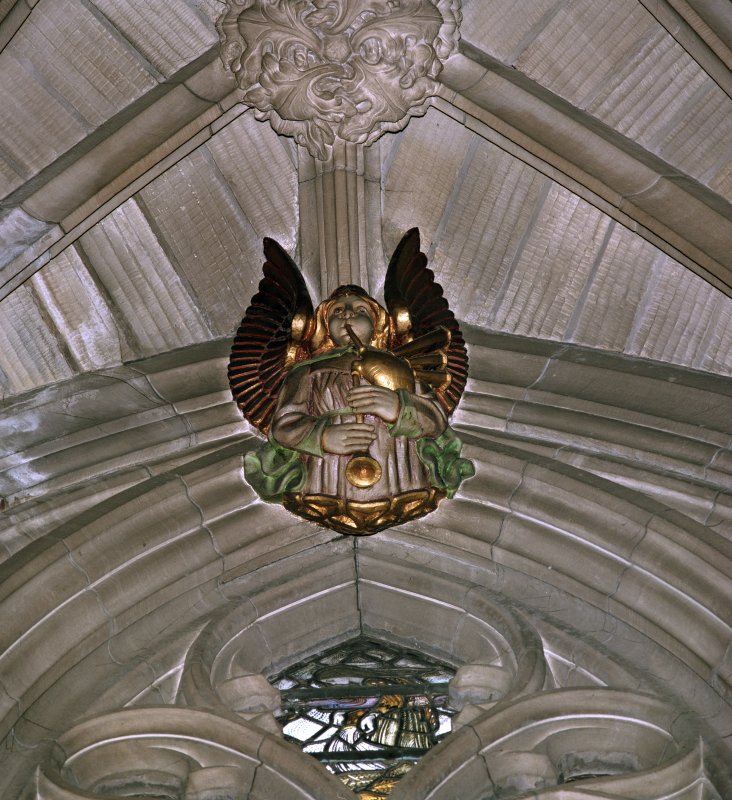 Interior view of the Thistle Chapel, Edinburgh showing detail of angel playing the bagpipes.