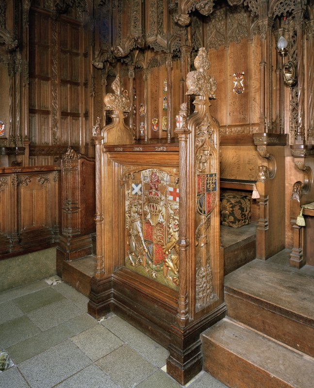 Thistle Chapel, interior, view of Queen's seat and decorated screen.