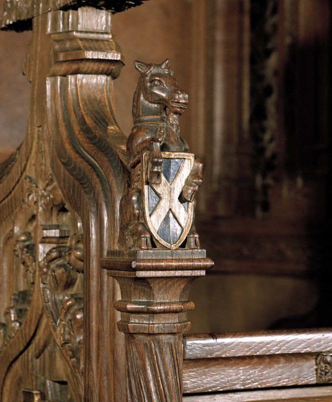 Thistle Chapel, interior, detail of carved wooden unicorn on screen of Queen's seat.