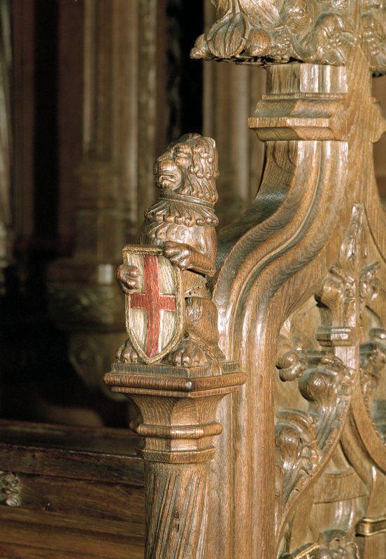Thistle Chapel, interior, detail of carved wooden lion on screan at Queen's seat.