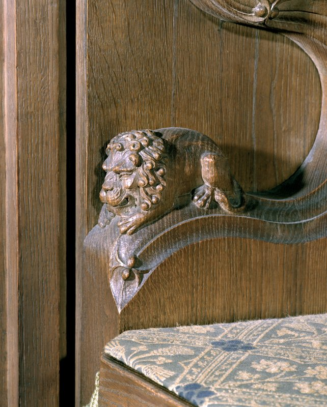 Thistle Chapel, interior, detail of carved animal figure on arm of seat.