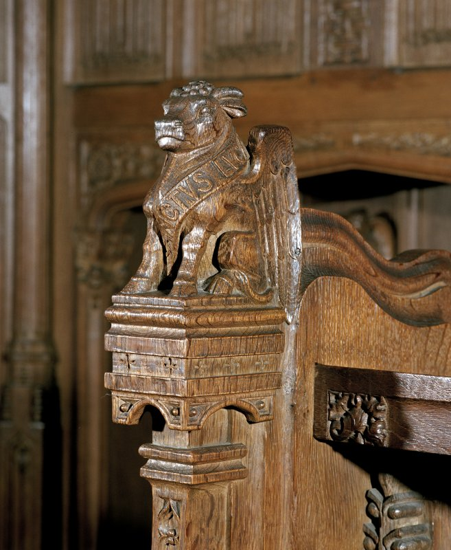 Thistle Chapel, interior, detail of carved animal figure at end of stalls.