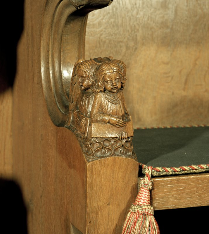 Thistle Chapel, interior, detail of carved angels at end of stalls.