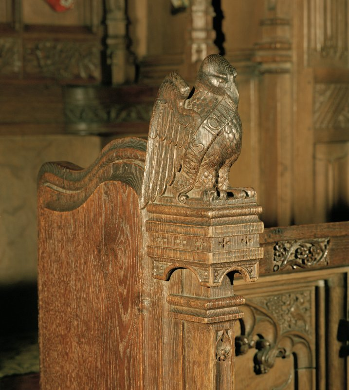 Thistle Chapel, interior, detail of carved eagle at end of stalls.
