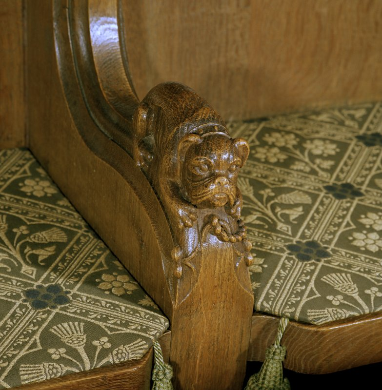 Thistle Chapel, interior, detail of carved bulldog on arm of stall.