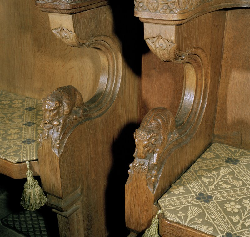 Thistle Chapel, interior, detail of carved boar and sheep on arms of stalls.