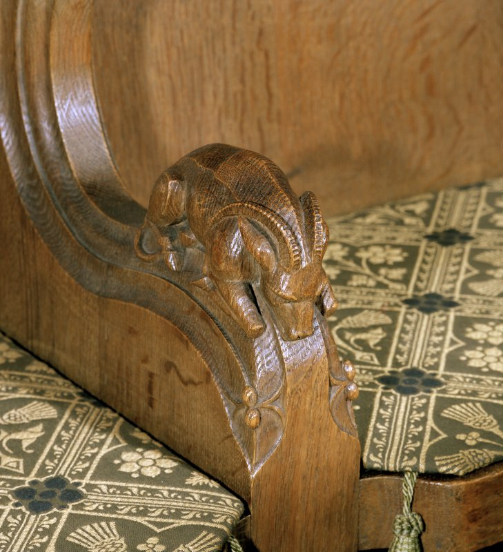 Thistle Chapel, interior, detail of carved ram on arm of stall.