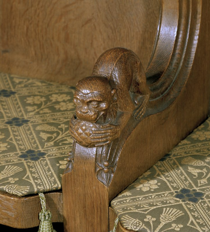 Thistle Chapel, interior, detail of carved monkey on arm of stall.