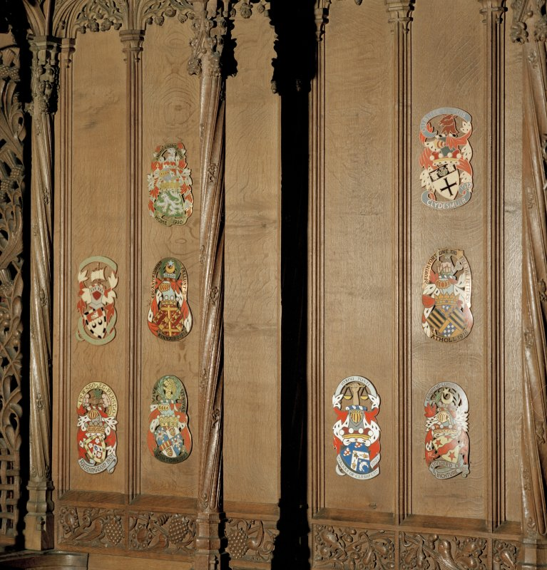 Thistle Chapel, interior, detail of selection of enamel plaques on back of seat.