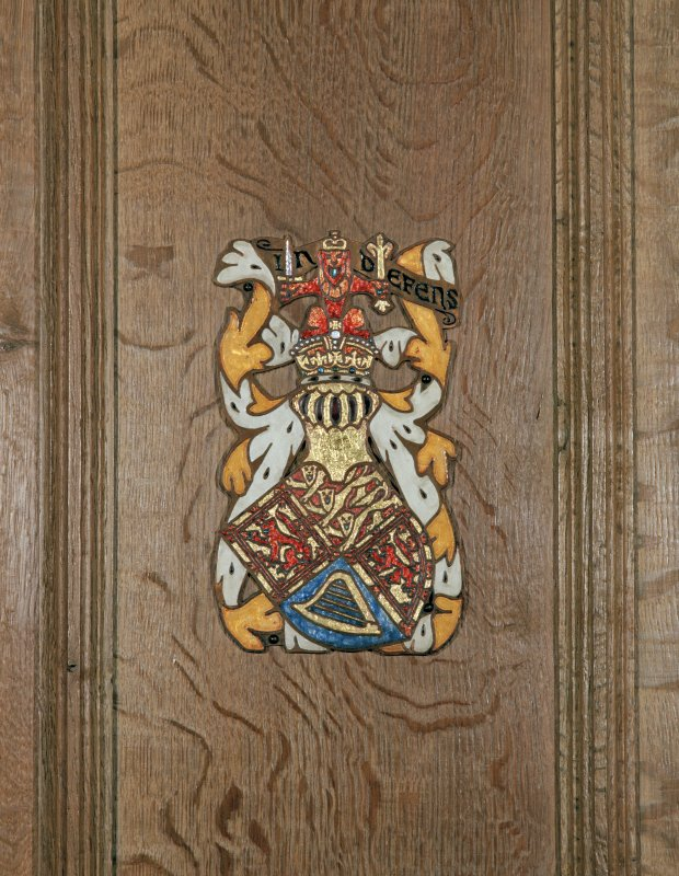 Thistle Chapel, interior, detail of enamel plaque depicting royal coat of arms.