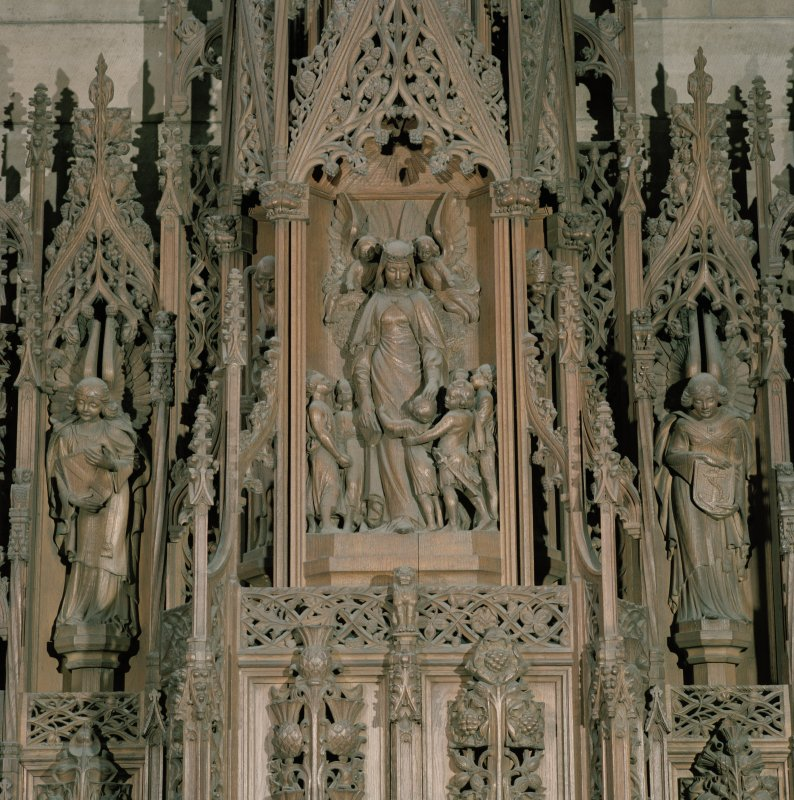 Thistle Chapel, interior, detail of carved panel above Queen's seat at west end.
