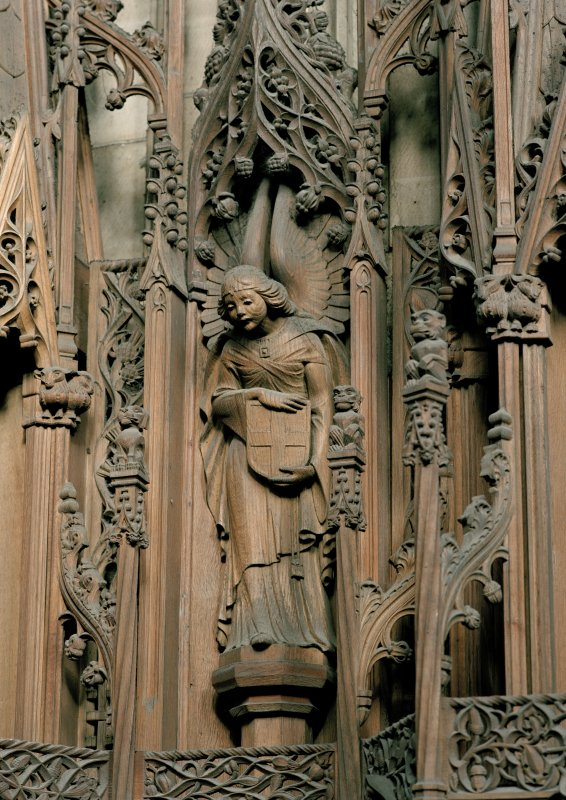Thistle Chapel, interior, detail of carved angel on west wall.